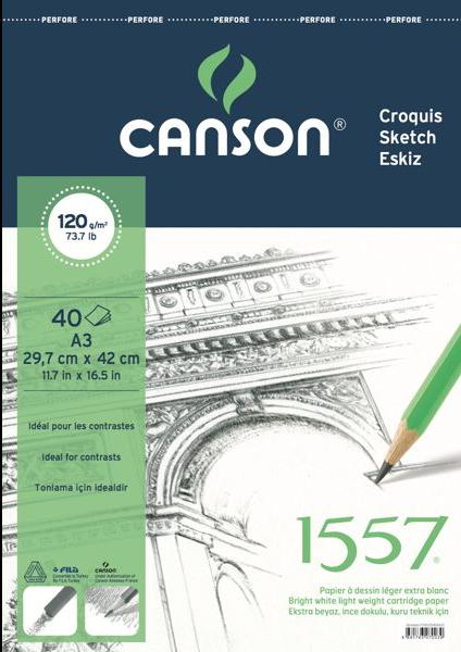 Canson 1557 Resim Defteri 120GR A3 40YP Üstten Spiralli
