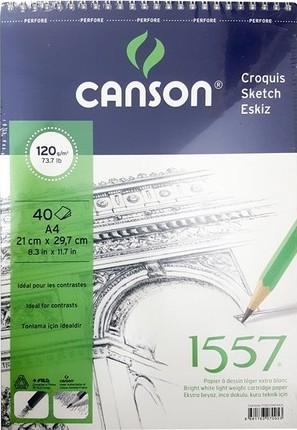 Canson 1557 Resim Defteri 120GR A4 40YP Üstten Spiralli
