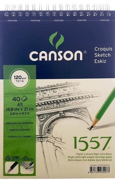 Canson 1557 Resim Defteri 120GR A5 40YP Üstten Spiralli