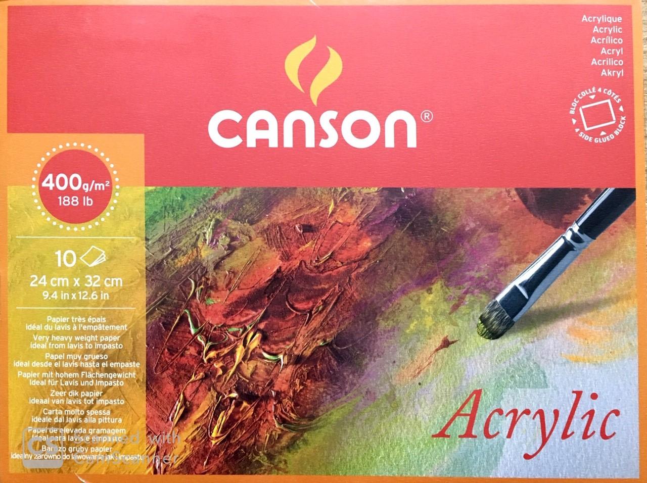 Canson Akrilik ve Suluboya Blok Grenli 400 gr. 24x32 cm. 10 Sayfa