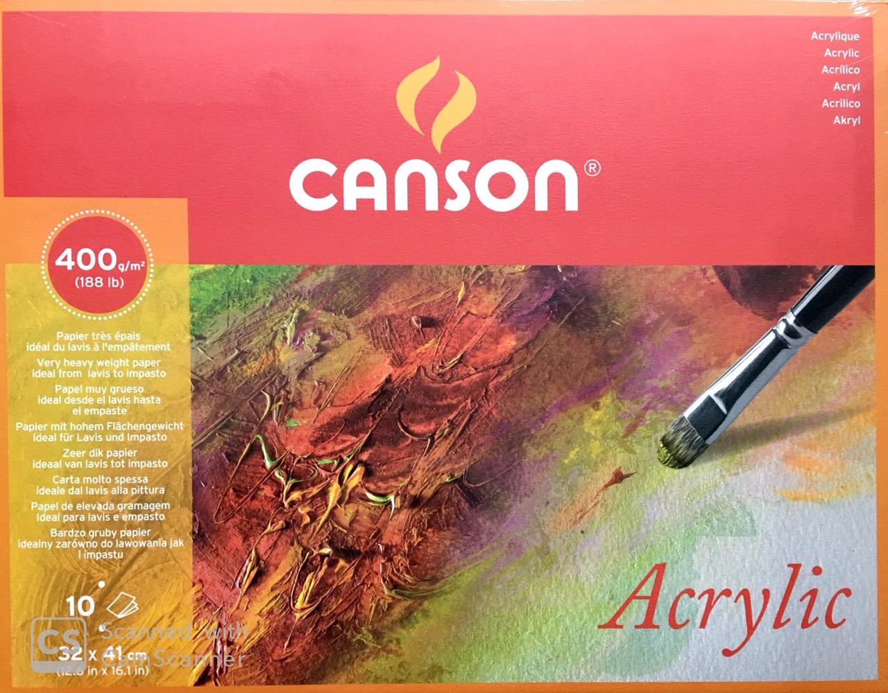 Canson Akrilik ve Suluboya Blok Grenli 400 gr. 32x41 cm. 10 Sayfa