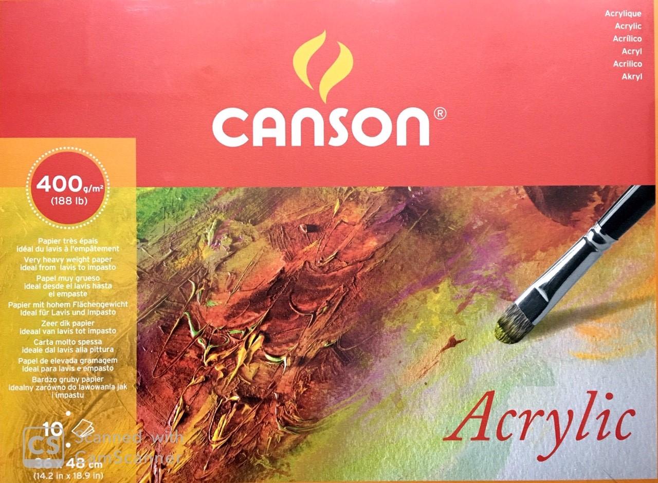 Canson Akrilik ve Suluboya Blok Grenli 400 gr.  36x48 cm. 10 Sayfa