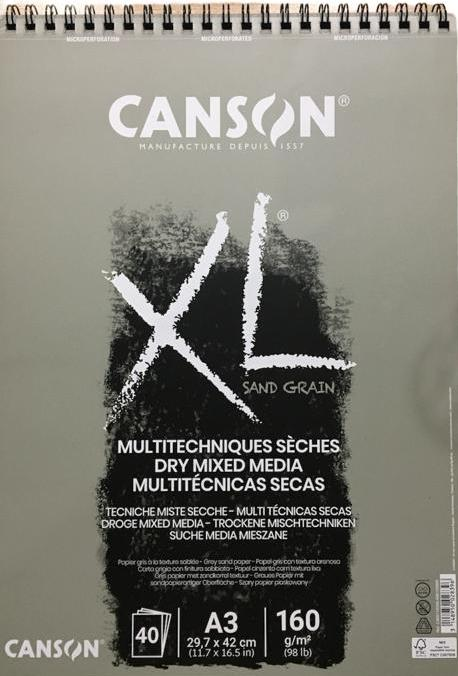 Canson Dry Mixed Media Grey Sand Grain 40SYF 160Gr A3