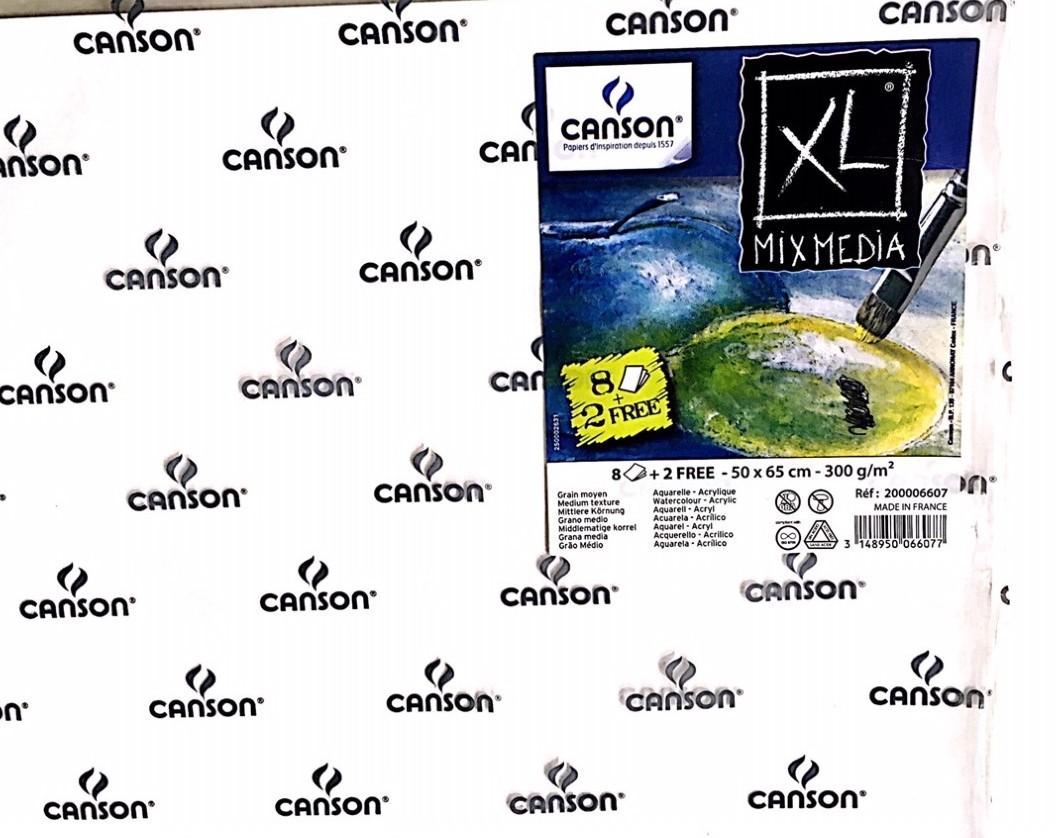 Canson Mix Media Suluboyave Akrilik Kağıdı 300g 50x65 (8adet+2 bedelsiz)