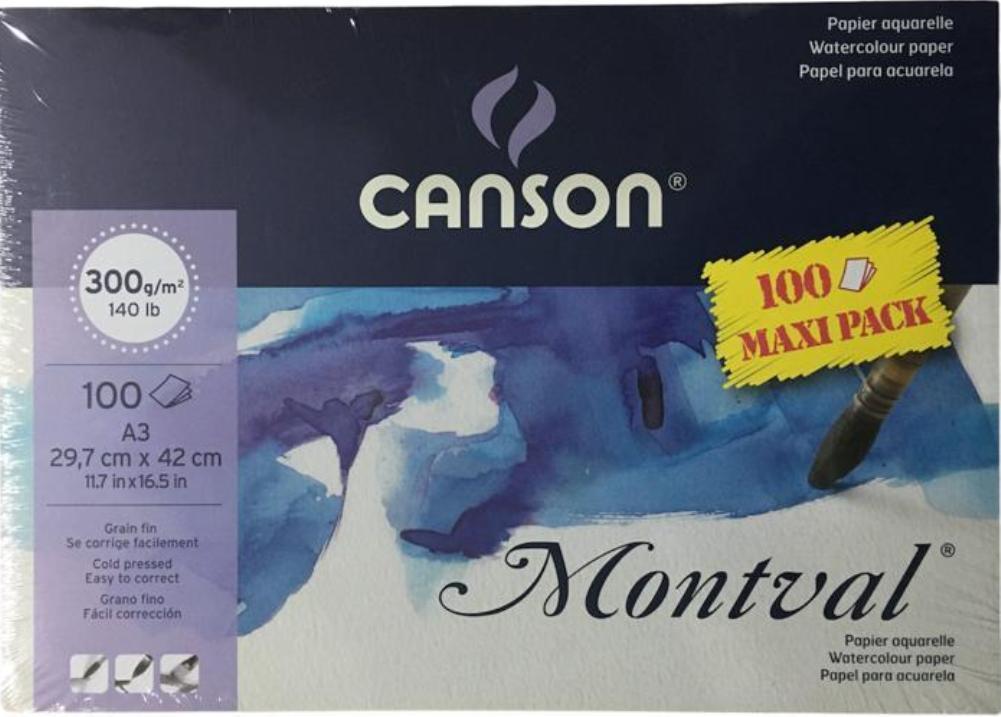 CANSON MONTVAL 300GR 100 SAYFA A3 SULUBOYA DEFTERİ