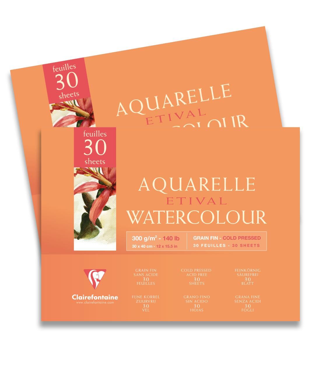 Clairefontaine  Etival Dokulu Cold Press Suluboya  Defteri 30 sayfa 30x40
