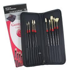 Daler Rowney Georgian Brush Classic Zip Cases Uzun Saplı Beyaz Kıl Fırça 10lu