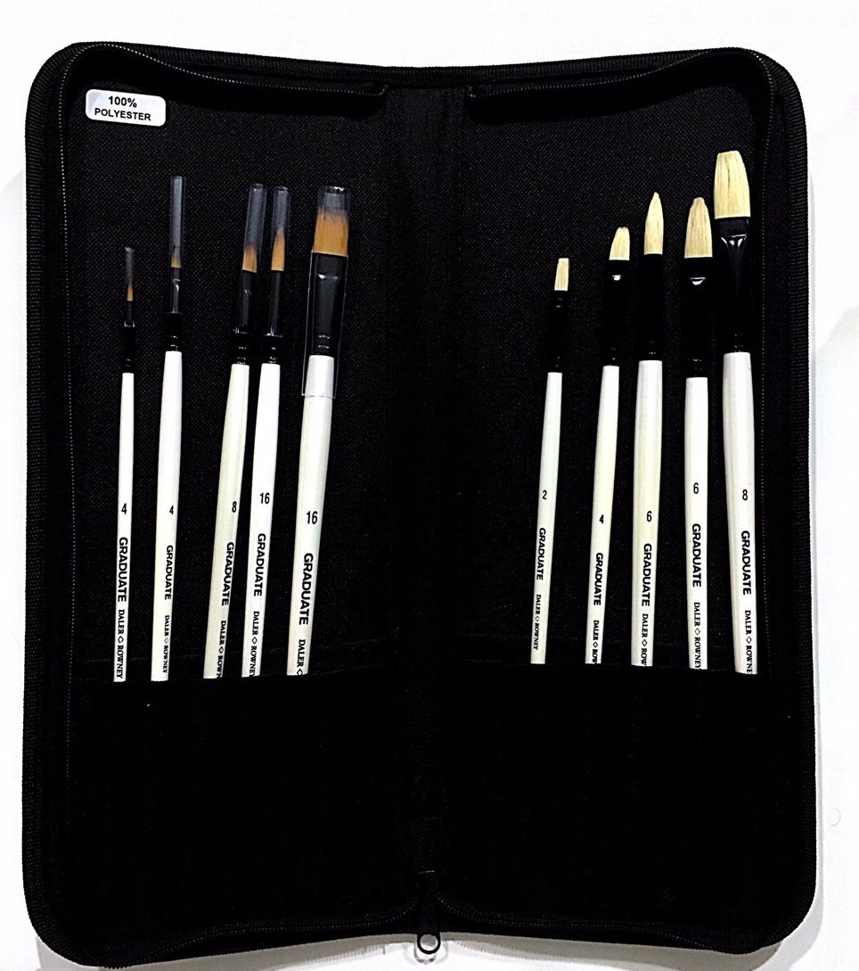 Daler Rowney - Graduate Firça Brush Zip Case 10 Brushes Long Handled