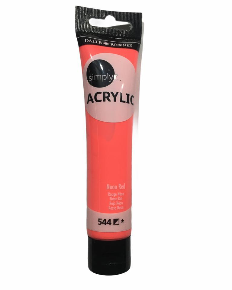 DALER ROWNEY SİMPLE FLORESAN AKRİLİK BOYA 75 ML NEON RED 544