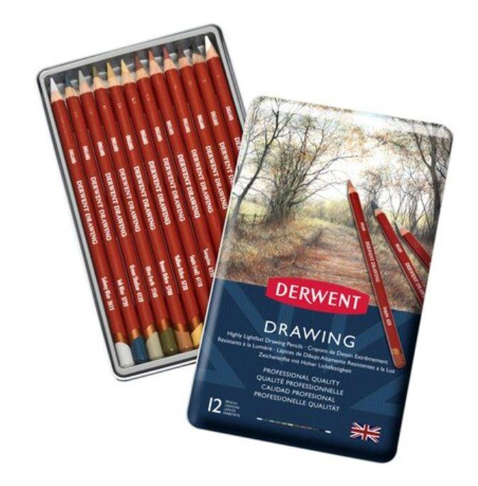 Derwent Drawing Yağlı Eskiz Çizim Kalemi 12 li Teneke Kutu