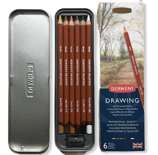 Derwent Drawing Yağlı Eskiz Çizim Kalemi 6 lı Teneke Kutu