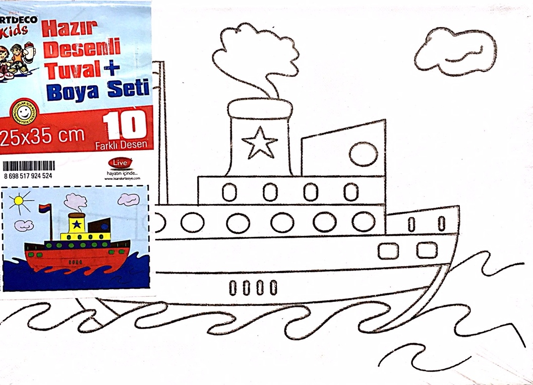 HAZIR ÇİZİMLİ TUVAL FANART (7 RENK BOYA HEDİYE) 25X35 GEMİ