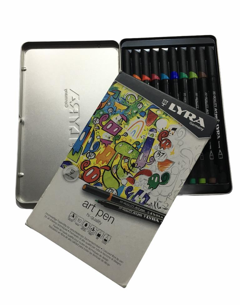 Lyra Hi-Quality Art Pen 10 Renk Metal Kutu