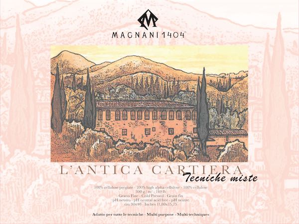 Magnani1404 L antica Cartiera Cold Pressed Çok Amaçlı Blok 300g 30 Sayfa 30x40